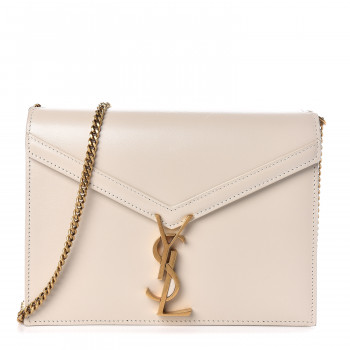 SAINT LAURENT Calfskin Monogram Cassandra Clasp Bag Porcellana