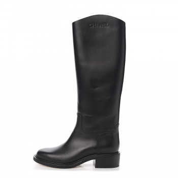 CHANEL Calfskin Logo Riding Boots 39 Black