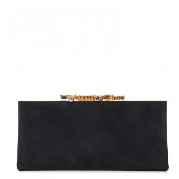 JIMMY CHOO Suede Celeste Logo Clutch Black