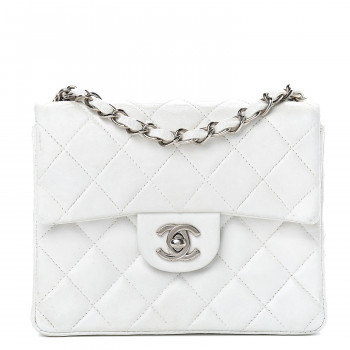 CHANEL Lambskin Quilted Mini Square Flap White
