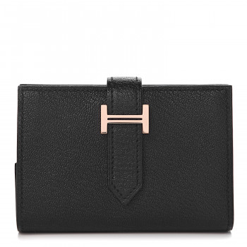 HERMES Chevre Mysore Bearn Mini Wallet Black