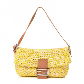 FENDI Woven Straw Baguette Yellow