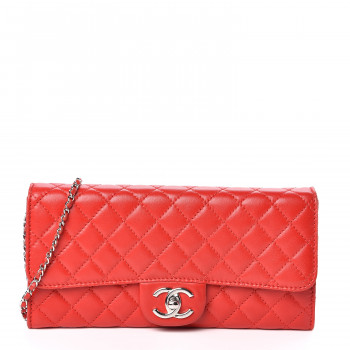 CHANEL Lambskin Quilted Chain Clutch Flap Light Red