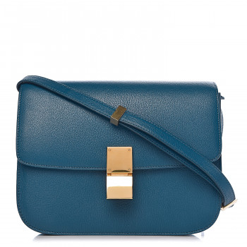 CELINE Goatskin Medium Classic Box Flap Deepsea