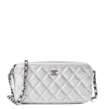 CHANEL Metallic Caviar Quilted Small Clutch With Chain Silver