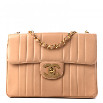 CHANEL Lambskin Vertical Quilted Jumbo Single Flap Beige