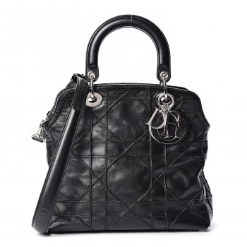 CHRISTIAN DIOR Lambskin Cannage Medium Granville Tote Black
