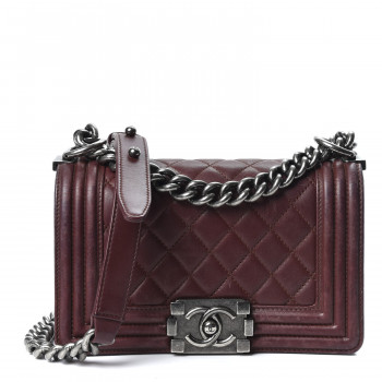 CHANEL Lambskin Quilted Small Boy Flap Burgundy
