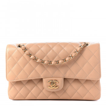 CHANEL Caviar Quilted Medium Double Flap Light Beige