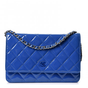 CHANEL Patent Calfskin Quilted Wallet On Chain WOC Dark Blue