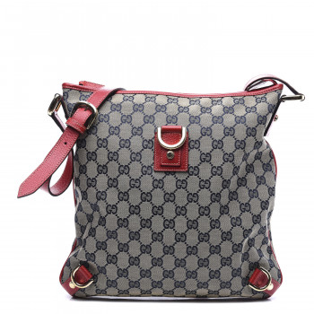 GUCCI Monogram Abbey Messenger Bag Navy Red