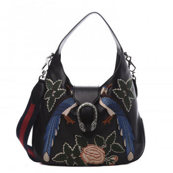 GUCCI Calfskin Medium Dionysus Embroidered Hobo Black