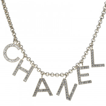 CHANEL Metal Strass Crystal Logo Necklace Gold