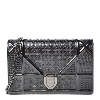 CHRISTIAN DIOR Metallic Patent Calfskin Micro-Cannage Diorama Wallet on Chain Pouch Black