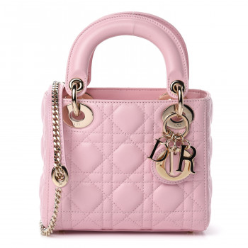 CHRISTIAN DIOR Lambskin Cannage Mini Lady Dior Rose Clair