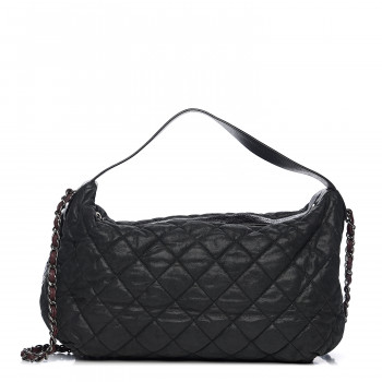 CHANEL Iridescent Calfskin Quilted Coco Daily Dark Grey