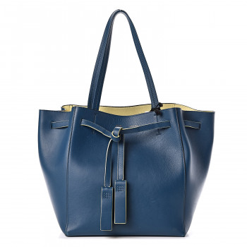 CELINE Smooth Calfskin Small Tassel Cabas Phantom Deep Blue