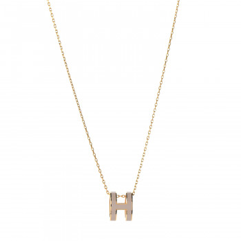 HERMES Lacquered Gold Pop H Pendant Necklace Marron Glace