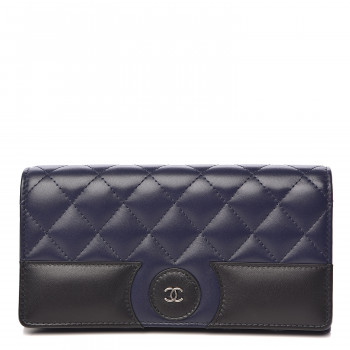 CHANEL Lambskin Quilted Large Gusset Flap Wallet Navy Black