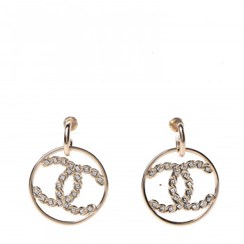 CHANEL Crystal Chain Chanel Strass CC Drop Earrings Gold