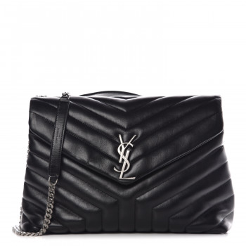 bc1693d2ece87 SAINT LAURENT Calfskin Matelasse Medium Loulou Monogram Chain Satchel  Black. Yves Saint Laurent