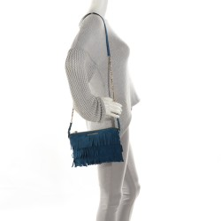 1cd263144162 BURBERRY Suede Fringe Peyton Crossbody Bag Marine Blue. Empty. Pinch Zoom