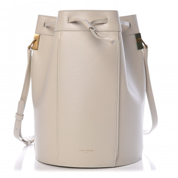 SAINT LAURENT Smooth Calfskin Medium Talitha Bucket Bag Vintage White