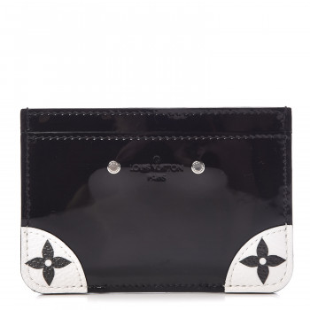 LOUIS VUITTON Patent Miroir Venice Card Holder Black