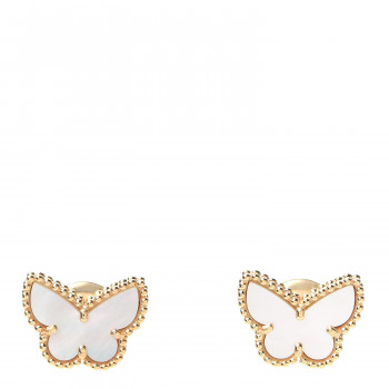 VAN CLEEF & ARPELS 18K Yellow Gold Mother of Pearl Sweet Alhambra Butterfly Earrings
