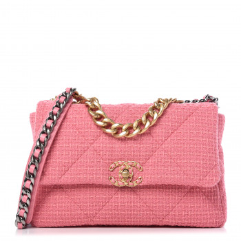 CHANEL Metallic Tweed Quilted Large Chanel 19 Flap Pink