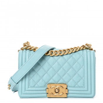 CHANEL Caviar Quilted Small Boy Flap Light Blue