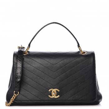 0b2b5857 CHANEL Grained Calfskin Elaphe Stitched Medium Chevron Chic Top Handle Flap  Black