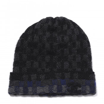 CHANEL Cashmere Blend CC Beanie Hat Black Dark Blue