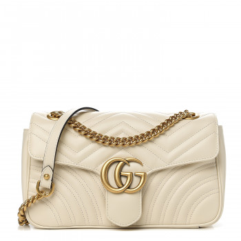 GUCCI Calfskin Matelasse Small GG Marmont Shoulder Bag White