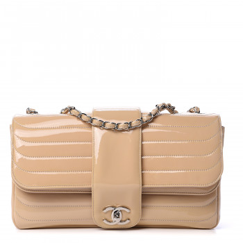 CHANEL Patent Horizontal Quilted Jumbo Single Flap Pink