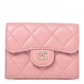 CHANEL Lambskin Quilted Flap Card Holder Pink