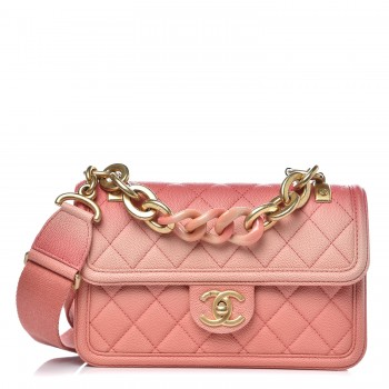 CHANEL Caviar Quilted Small Sunset On The Sea Flap Coral