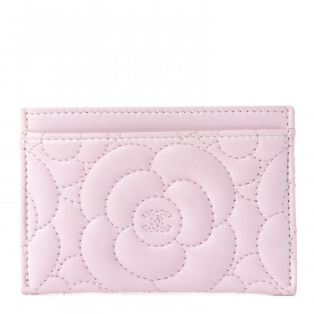 CHANEL Lambskin Camellia Embossed Card Holder Pink