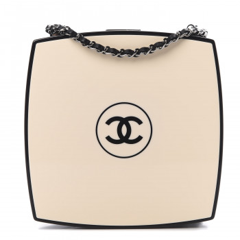 CHANEL Plexiglass Compact Box Clutch Black Ivory