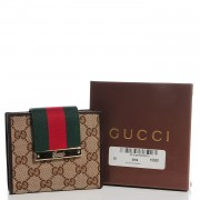 a327fe6cbf53 GUCCI Monogram Ladies Web French Flap Wallet Dark Brown. Empty. Pinch/Zoom.  ‹ › ‹ ›