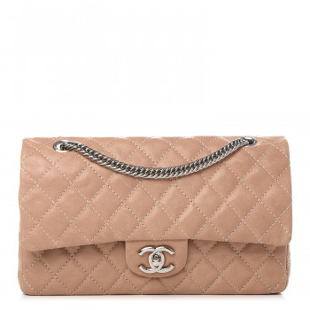 CHANEL Washed Lambskin Quilted Medium Double Flap Bijoux Chain Pink