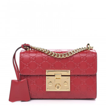 GUCCI Guccissima Small Padlock Shoulder Bag Hibiscus Red