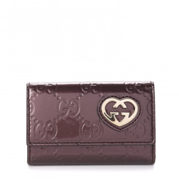 GUCCI Patent Guccissima Lovely Heart 6 Key Holder Case Bordeaux