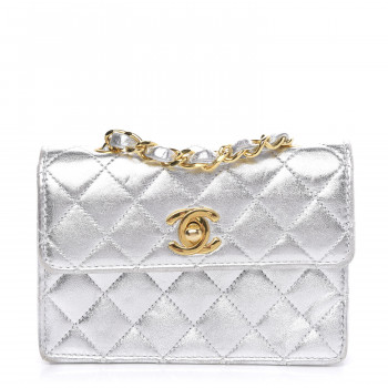 CHANEL Metallic Lambskin Quilted Micro Mini Flap Silver