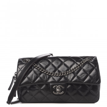 CHANEL Glazed Calfskin Medium Duo Color Flap Black