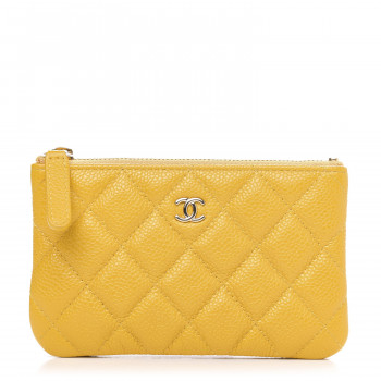 CHANEL Caviar Quilted Small Cosmetic Case Yellow
