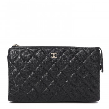 CHANEL Caviar Quilted Small Zipped Pouch Black