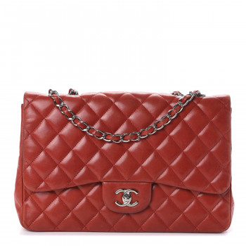 CHANEL Lambskin Quilted Jumbo Single Flap Red