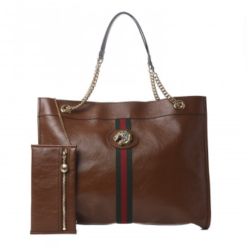GUCCI Calfskin Large Rajah Tote Brown