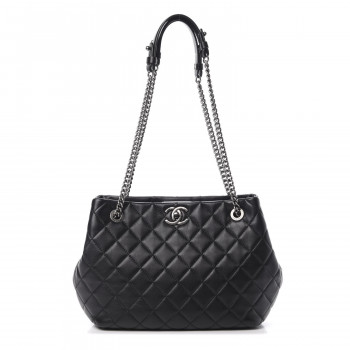 CHANEL Lambskin Quilted Accordion Tote Black